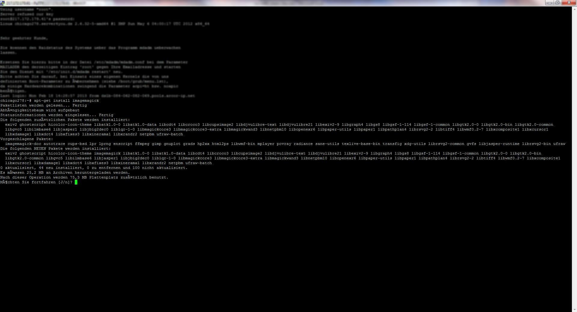 Imagemagick auf dem Server nachinstallieren